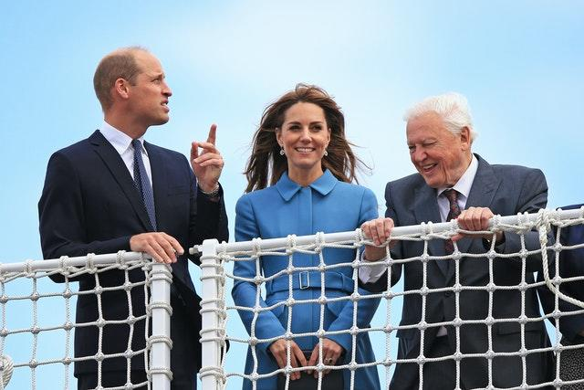 Sir David Attenborough is featured in the documentary with the duke and duchess, the trio are pictured during the naming ceremony of a new British polar research vessel, named after the broadcaster. Peter Byrne/PA Wire