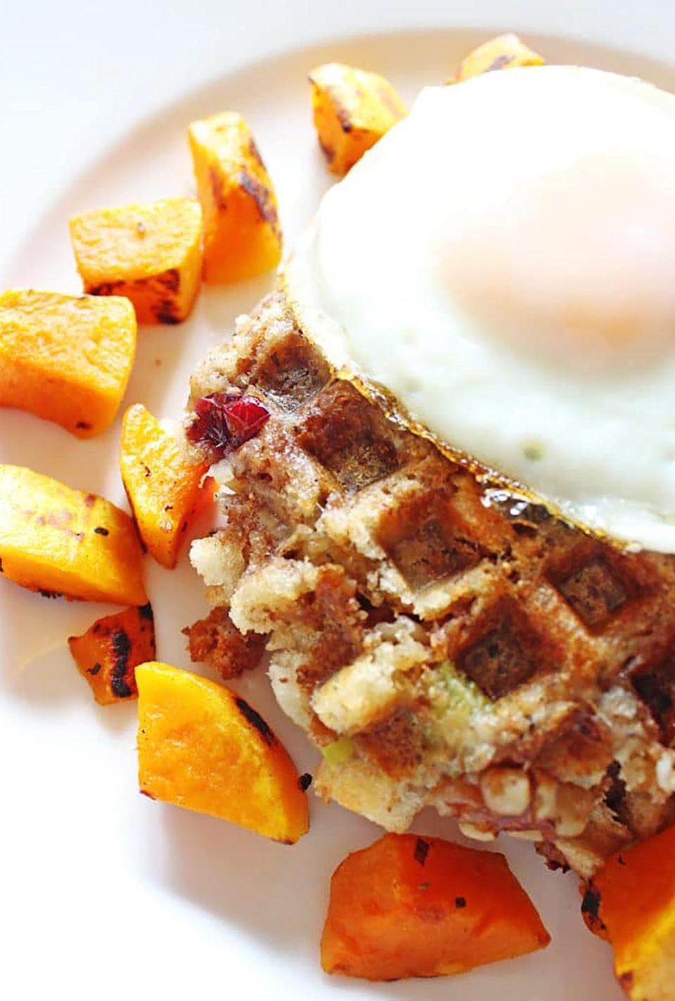 """<p>Waffles made from stuffing might sound a little strange, but trust us: This recipe is oh-so delicious. </p><p><strong>Get the recipe at <a href=""""http://www.ifyougiveablondeakitchen.com/2016/11/02/leftover-thanksgiving-stuffing-waffles/"""" rel=""""nofollow noopener"""" target=""""_blank"""" data-ylk=""""slk:If You Give A Blonde A Kitchen"""" class=""""link rapid-noclick-resp"""">If You Give A Blonde A Kitchen</a>. </strong></p>"""