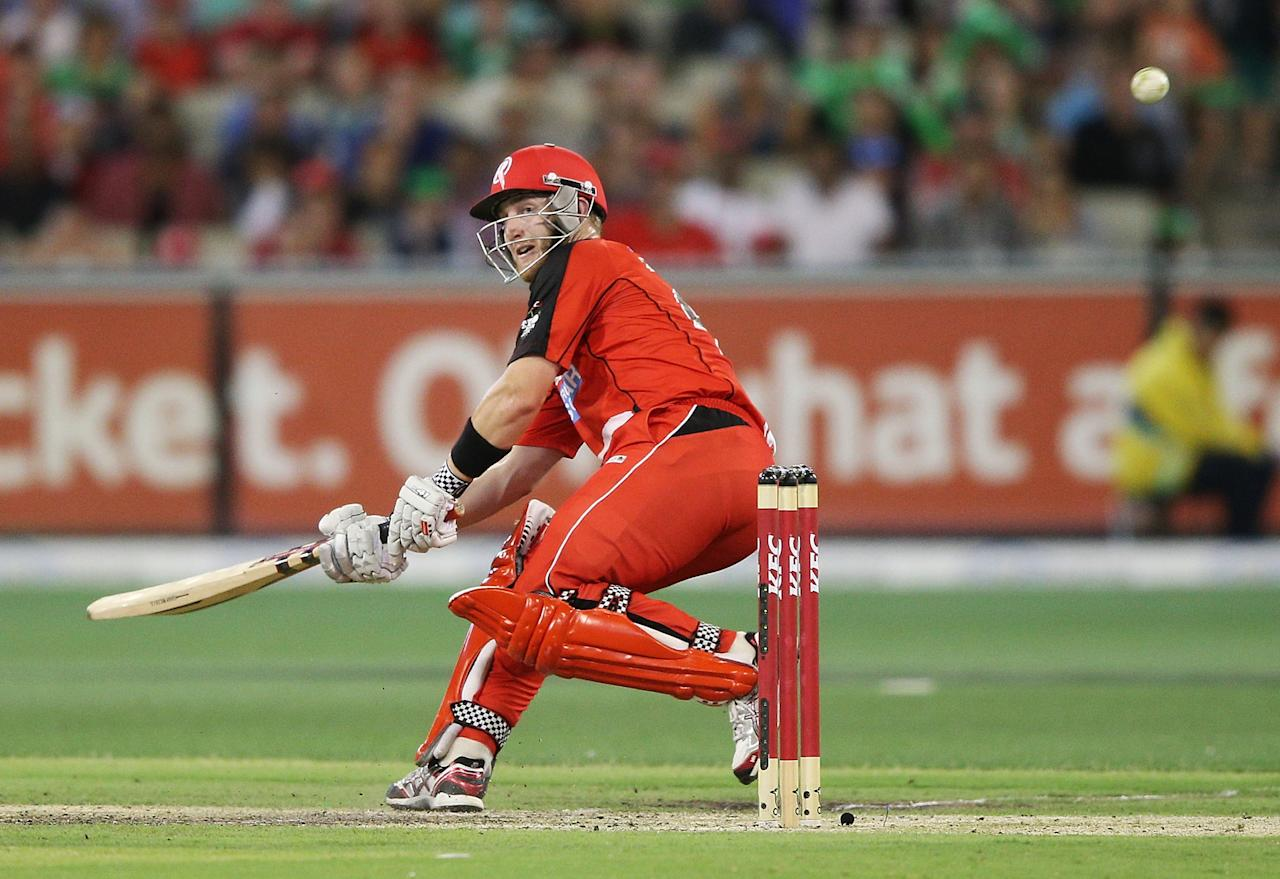 MELBOURNE, AUSTRALIA - JANUARY 06:  Peter Nevill of the Melbourne Renegades hits the winning runs during the Big Bash League match between the Melbourne Stars and the Melbourne Renegades at Melbourne Cricket Ground on January 6, 2013 in Melbourne, Australia.  (Photo by Michael Dodge/Getty Images)