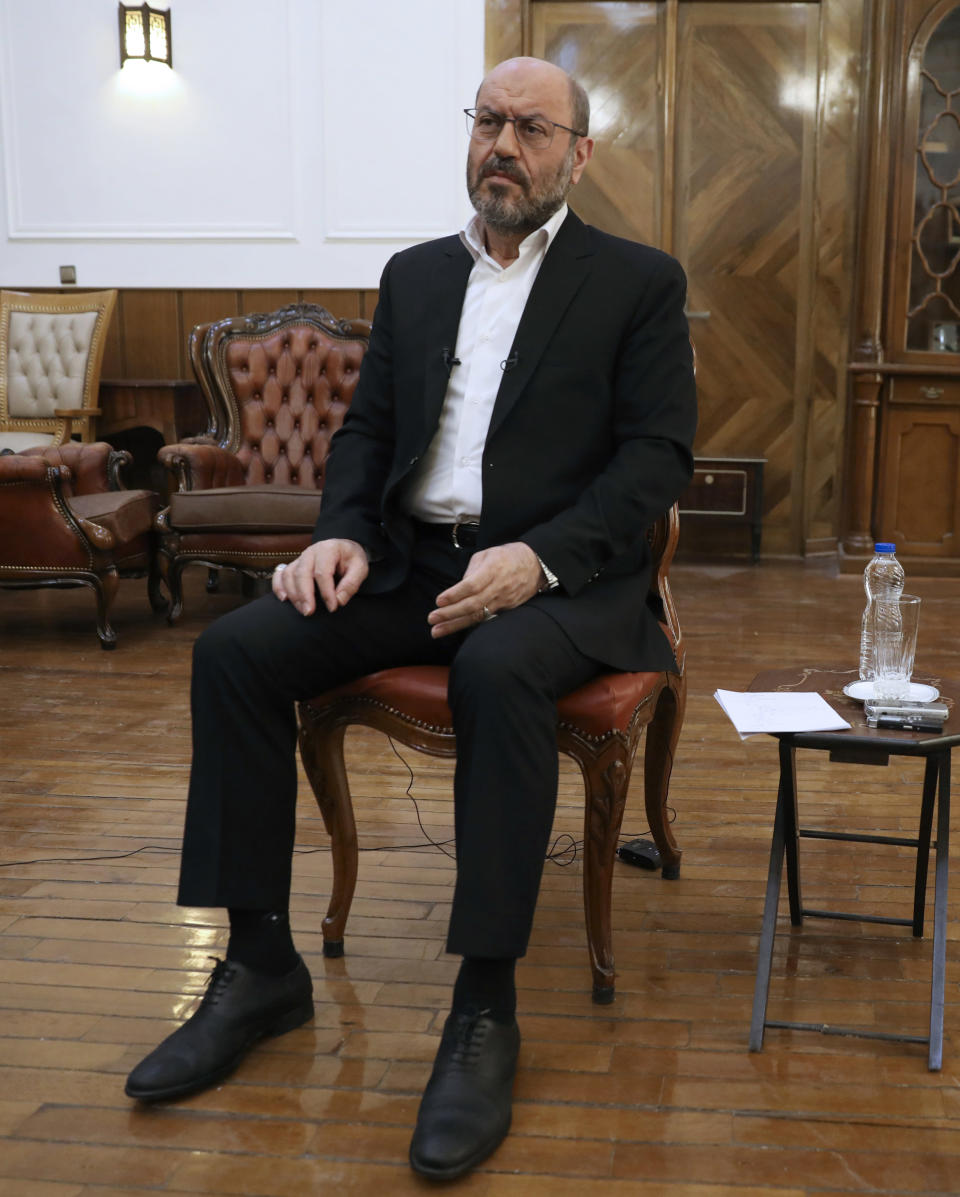Gen. Hossein Dehghan, a military advisor to Iran's Supreme Leader Ayatollah Ali Khamenei, listens to a question during an interview with The Associated Press, in Tehran, Iran, Wednesday, Nov. 18, 2020. Dehghan said the Israeli strikes were a violation of Syria's sovereignty. Israeli warplanes struck Iran-linked targets in Syria overnight after troops uncovered roadside bombs along the frontier in the Golan Heights, the Israeli military said Wednesday. (AP Photo/Vahid Salemi)