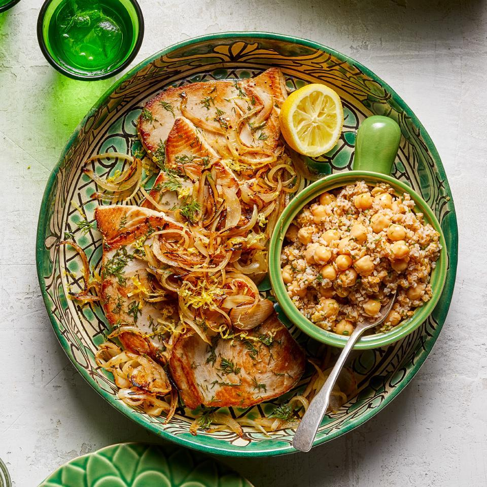 <p>This healthy tuna recipe combines many of Turkey's most beloved foods and flavors--fresh fish, olive oil, lemon juice, fresh herbs and chickpeas. Cooking for two? Flake the two leftover tuna steaks and mix them into the remaining bulgur salad, then serve over lettuce for lunch the next day.</p>
