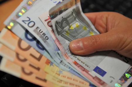 The euro was lower on Monday.