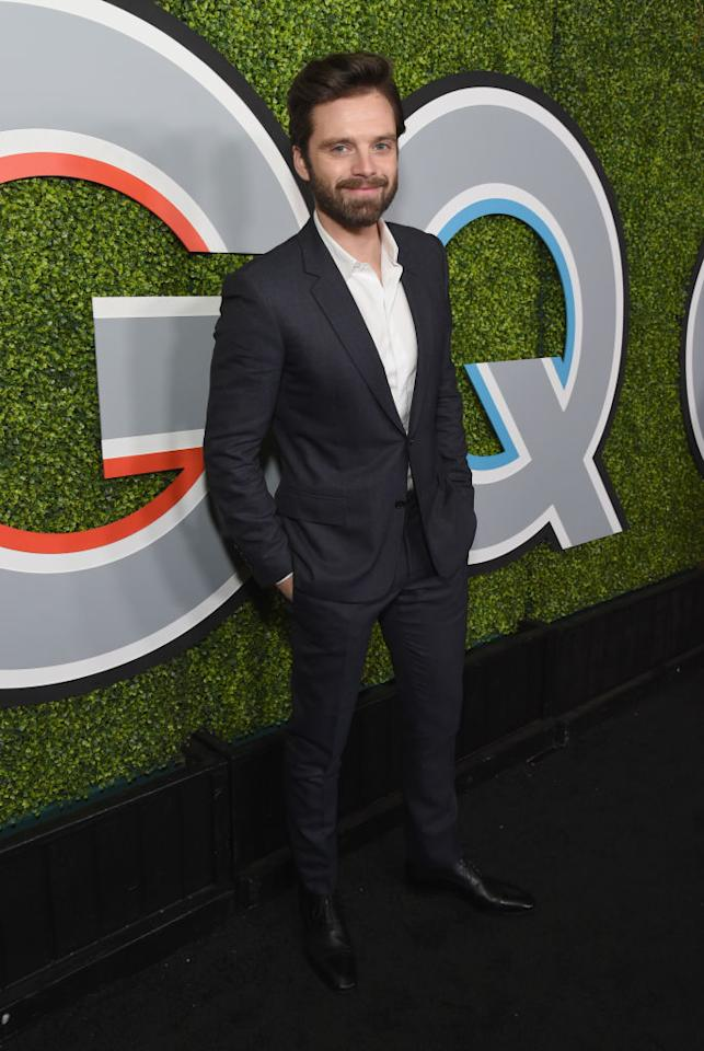 <p>A classic black suit flattered the Romanian actor on the arrivals carpet. (Photo: Getty Images) </p>