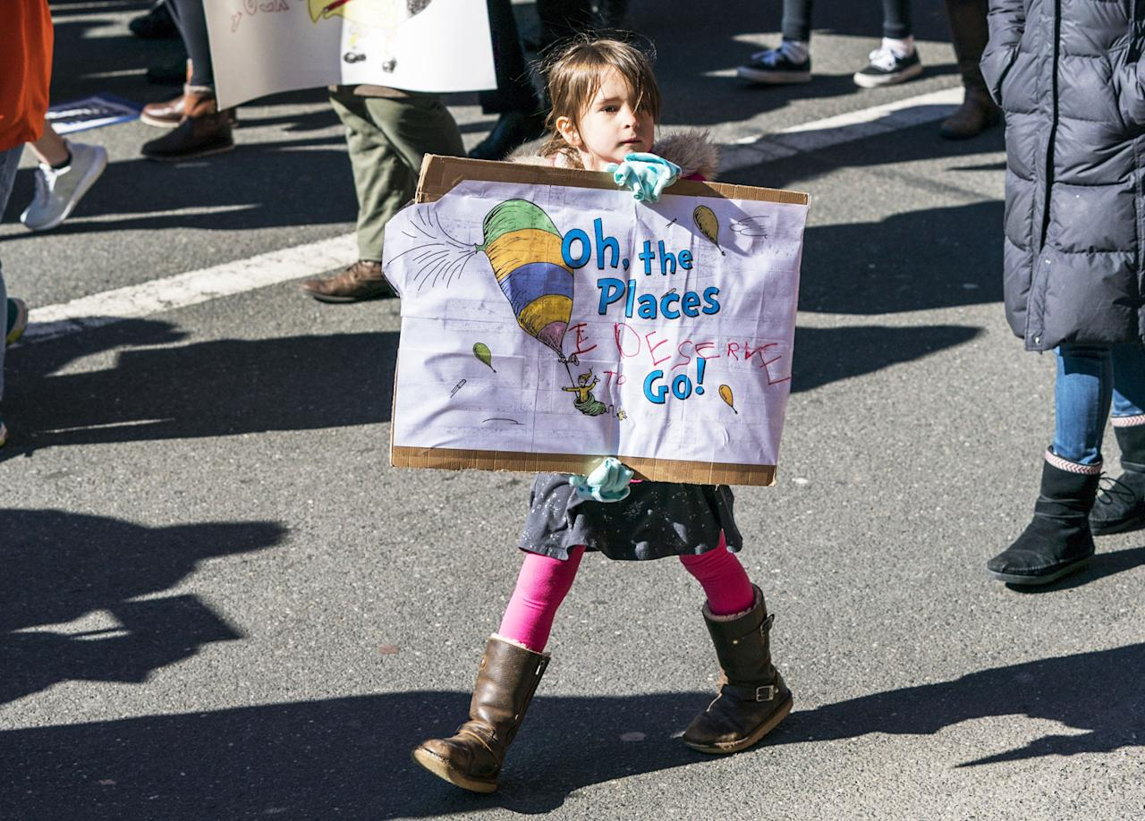 <p>A young girl participates during the March for Our Lives rally in Philadelphia. (Photo by Jessica Kourkounis/Getty Images) </p>