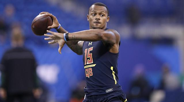 The Texans traded up in the draft to select Clemson's Deshaun Watson with pick No. 12.
