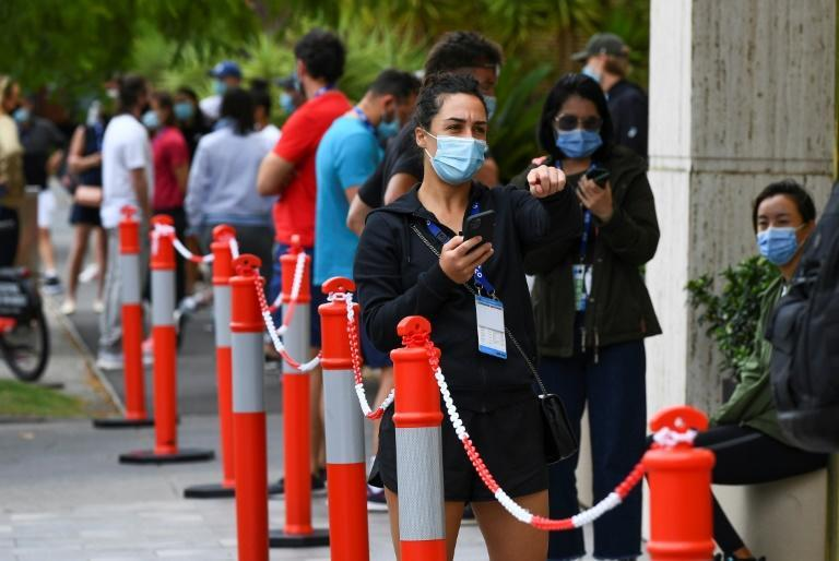 Tennis players queued for coronavirus tests on Thursday