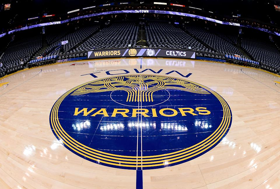 "A detailed view of the ""The Town"" logo for the Golden State Warriors"