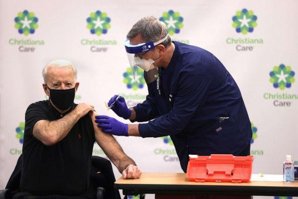 PHOTO: President-elect Joe Biden receives the second dose of a COVID-19 vaccine from Chief Nurse Executive Ric Cuming at ChristianaCare Christiana Hospital, Jan. 11, 2021, in Newark, Del. (Alex Wong/Getty Images, FILE)