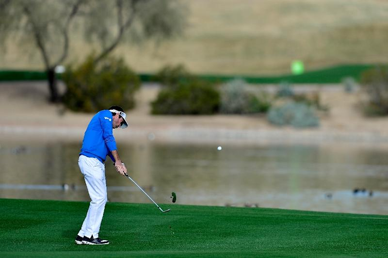 Bubba Watson plays a shot from the fairway after taking a drop on the 15th hole during the second round of the Waste Management Phoenix Open at TPC Scottsdale on February 3, 2017 in Scottsdale, Arizona