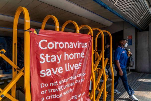 PHOTO: A man exits Brixton underground station in Brixton, south London, April 23, 2020, during the lockdown designed to halt the spread of the novel coronavirus. (Niklas Halle'n/AFP via Getty Images, FILE)