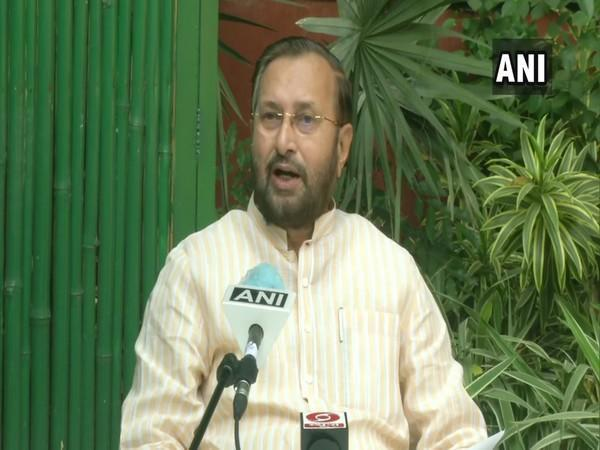 Union Information and Broadcasting Minister Prakash Javadekar speaking to ANI in New Delhi on Saturday. (Photo/ANI)