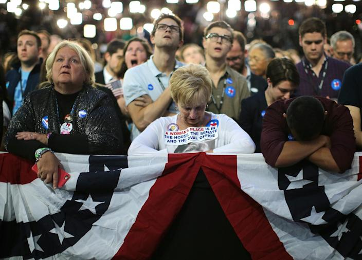 Hillary Clinton supporters at her election night rally in New York on Nov. 8. (Photo: Carlos Barria/Reuters)