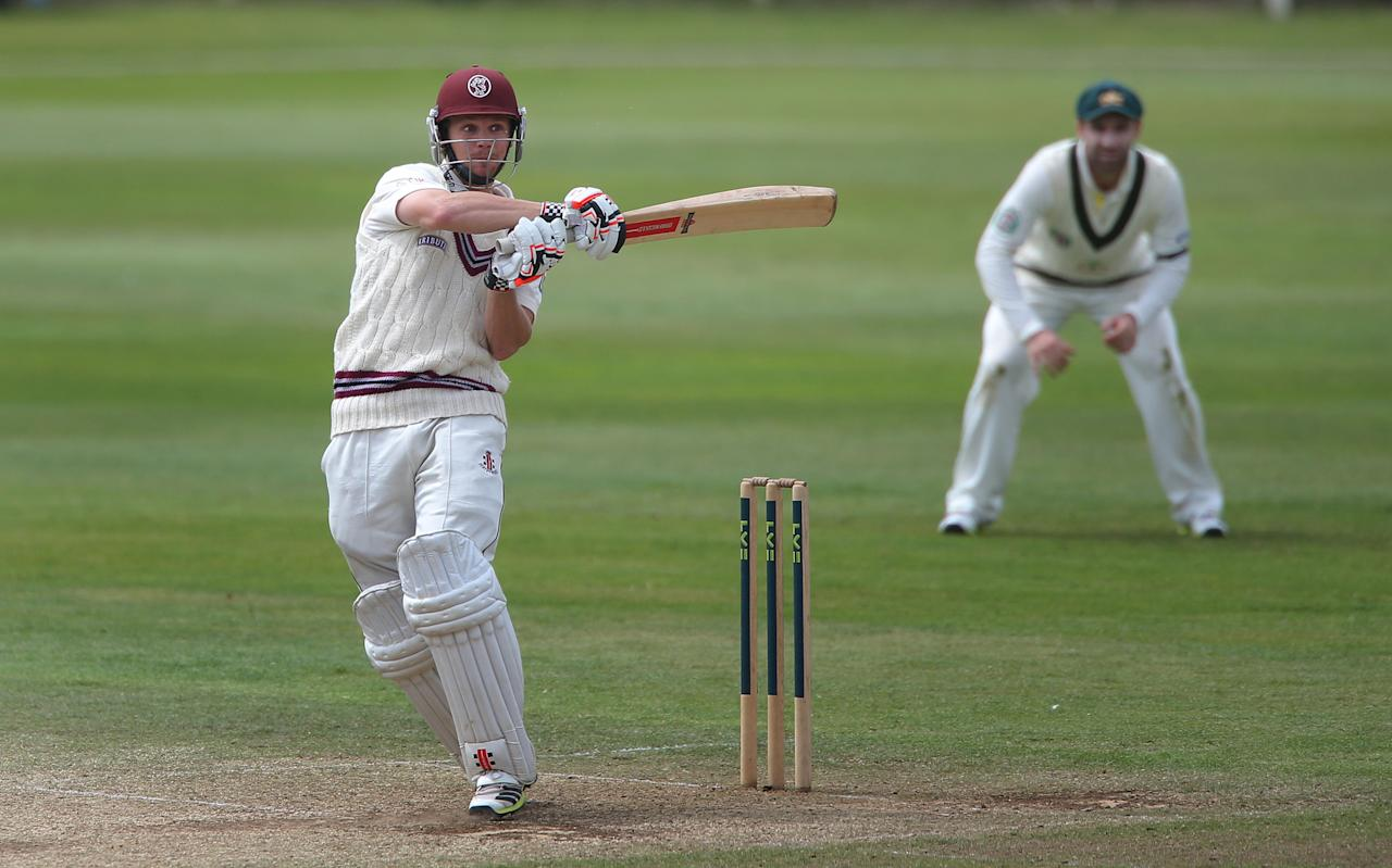 Somerset's James Hildreth hits a boundary during the International Tour match at the County Ground, Taunton.
