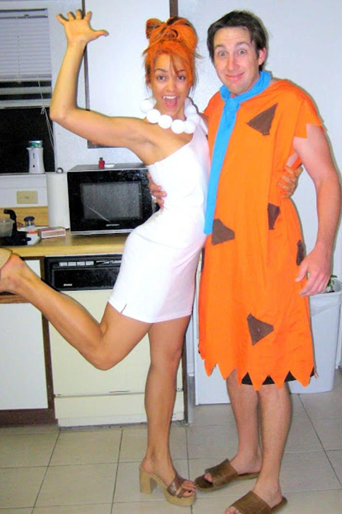 """<p>Have a """"yabba-dabba-doo"""" time together on October 31.</p><p><strong>Get the tutorial at </strong><strong><a href=""""https://www.creatingreallyawesomefunthings.com/seasonal-c-r-a-f-t-4-fred-and-wilma/"""" rel=""""nofollow noopener"""" target=""""_blank"""" data-ylk=""""slk:C.R.A.F.T."""" class=""""link rapid-noclick-resp"""">C.R.A.F.T.</a></strong></p><p><strong><a class=""""link rapid-noclick-resp"""" href=""""https://www.amazon.com/Floracraft-Styrofoam-Balls-2-Inch-Package/dp/B001685PEQ/?tag=syn-yahoo-20&ascsubtag=%5Bartid%7C10050.g.4616%5Bsrc%7Cyahoo-us"""" rel=""""nofollow noopener"""" target=""""_blank"""" data-ylk=""""slk:SHOP STYROFOAM BALLS"""">SHOP STYROFOAM BALLS</a></strong></p>"""