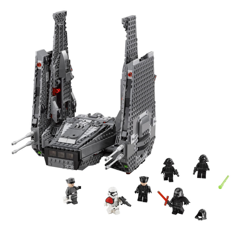 <p>The Dark Side's new ride gets bricked and comes with a minifig Kylo Ren, complete with crossguard saber. </p>