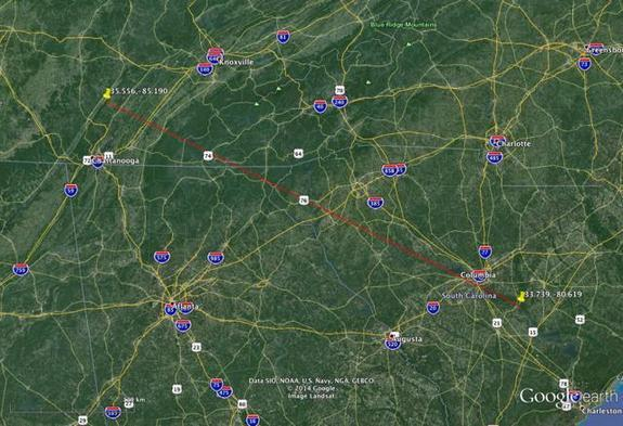 This map shows the path of the Earthgrazer meteor as it flew over South Carolina and Tennessee on May 16, 2014.