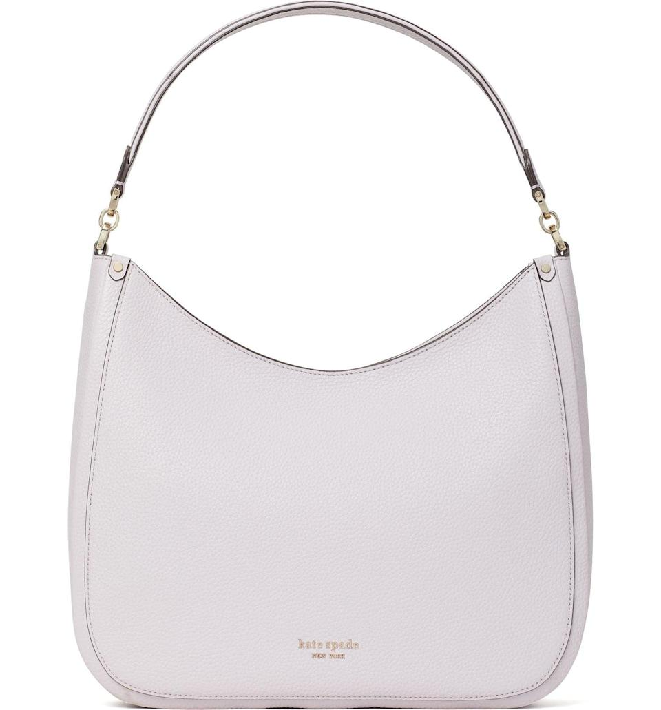 <p>This <span>Kate Spade Roulette Large Leather Hobo Bag</span> ($179, originally $298) can go everywhere with you. The light lilac is gorgeous.</p>