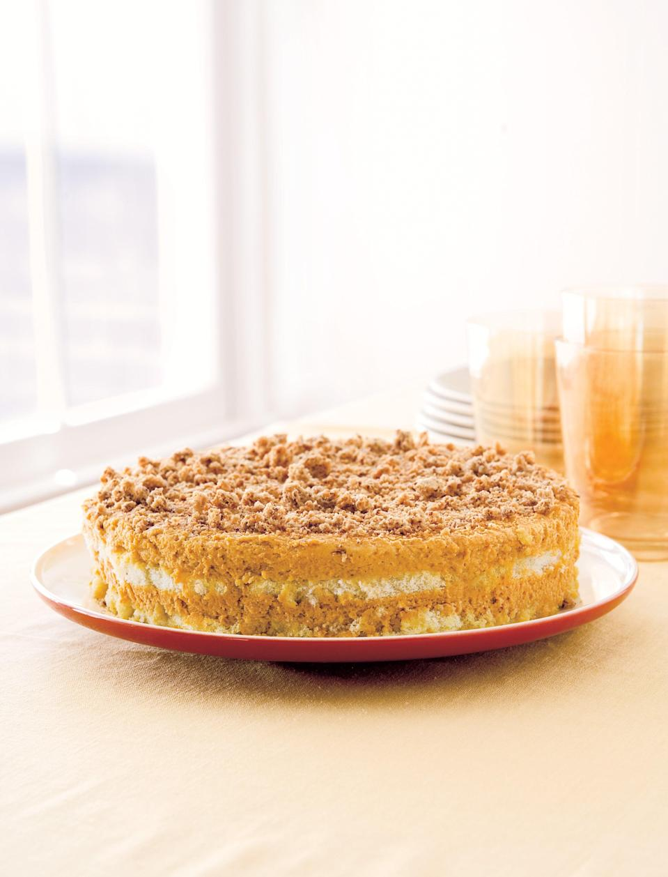 """Whip canned pumpkin with mascarpone, cream, and spices, then layer with rum-soaked lady fingers and crushed amaretti cookies for an easy dessert with a lot of flavor. <a href=""""https://www.epicurious.com/recipes/food/views/super-simple-pumpkin-tiramisu-236541?mbid=synd_yahoo_rss"""" rel=""""nofollow noopener"""" target=""""_blank"""" data-ylk=""""slk:See recipe."""" class=""""link rapid-noclick-resp"""">See recipe.</a>"""
