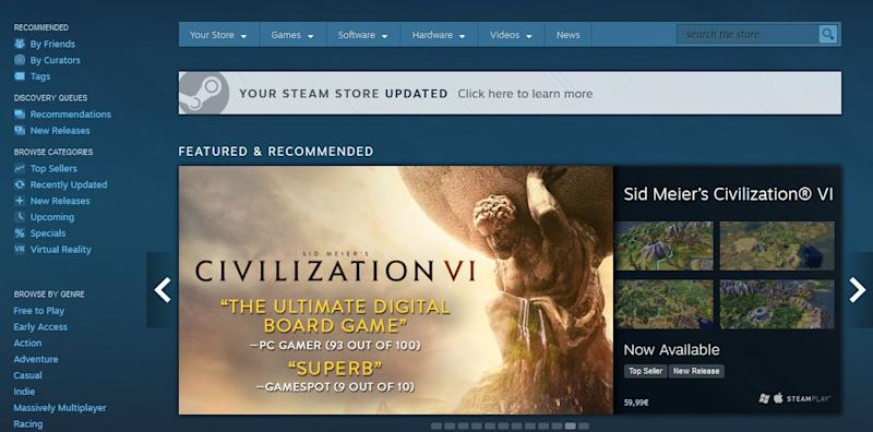 Steam store refresh elevates recommendations, previews