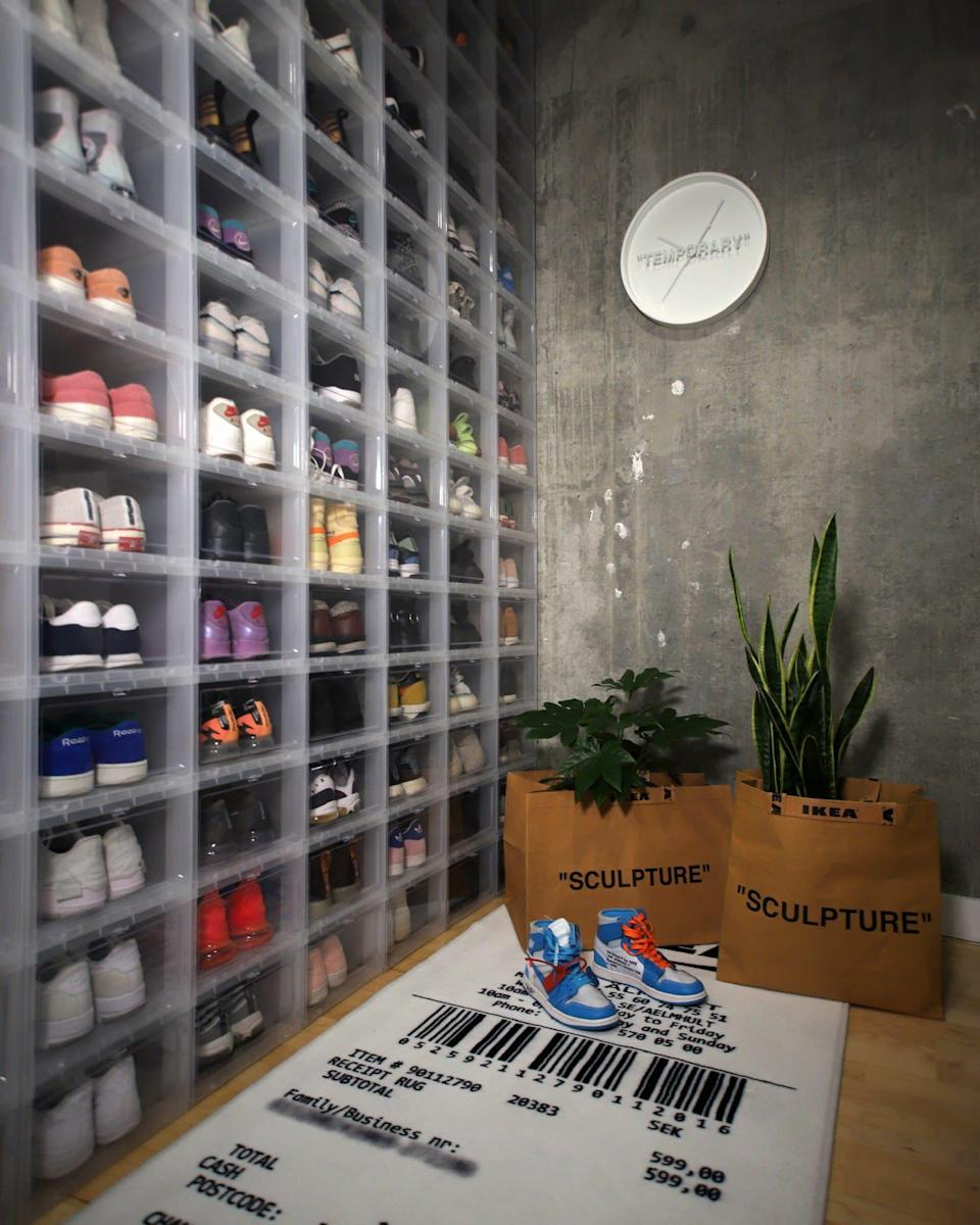 A closet filled with sneakers