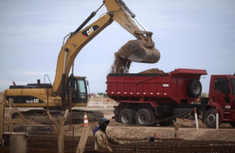 A worker is pictured at the construction site of Port of Acu in Sao Joao da Barra