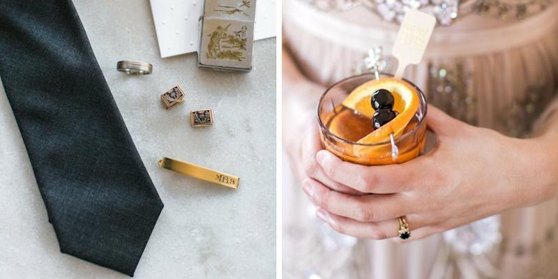 Bling details on the left and a brandy sweet, one of two cocktail options at the wedding, on the right.