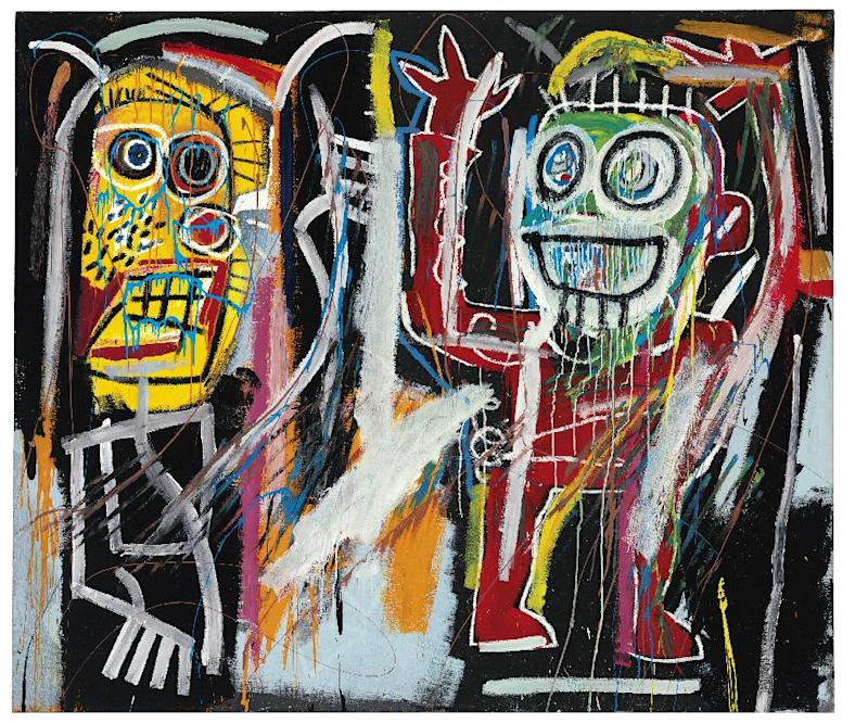 """This image released by Christie's auction house on Friday April 12, 2013, shows a Jean-Michel Basquiat painting titled """"Dustheads"""" that could sell for as much as $35 million at a May 15 auction. Basquiat's painting has set a new auction record for the graffiti artist at a sale of postwar and contemporary art in New York. Christie's says """"Dustheads"""" sold for $48.8 million on Wednesday.  (AP Photo/Christie's)"""