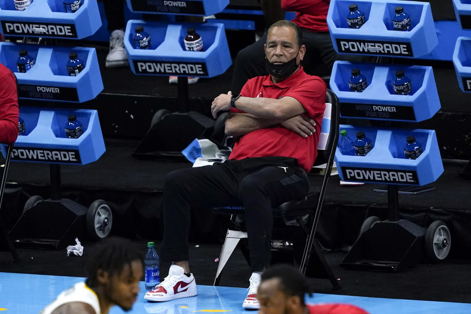 Houston head coach Kelvin Sampson watches from the bench during the second half of a men's Final Four NCAA college basketball tournament semifinal game against Baylor, Saturday, April 3, 2021, at Lucas Oil Stadium in Indianapolis. (AP Photo/Darron Cummings)