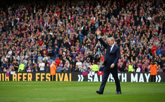 "Soccer Football - Premier League - Crystal Palace vs West Bromwich Albion - Selhurst Park, London, Britain - May 13, 2018 Crystal Palace manager Roy Hodgson waves to the crowd after the match REUTERS/Hannah McKay EDITORIAL USE ONLY. No use with unauthorized audio, video, data, fixture lists, club/league logos or ""live"" services. Online in-match use limited to 75 images, no video emulation. No use in betting, games or single club/league/player publications. Please contact your account representative for further details."