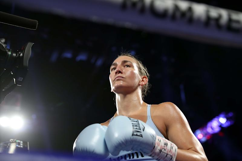 LAS VEGAS, NEVADA - JUNE 15: Boxer Mikaela Mayer prepares for her super featherweight fight against Lizbeth Crespo at MGM Grand Garden Arena on June 15, 2019 in Las Vegas, Nevada. Mayer beat Crespo by unanimous decision. (Photo by Steve Marcus/Getty Images)