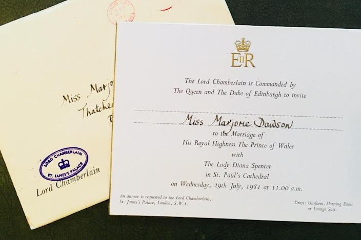 Marjorie Dawson's invitation to the wedding of the Prince of Wales and Diana, Princess of Wales. (PA)