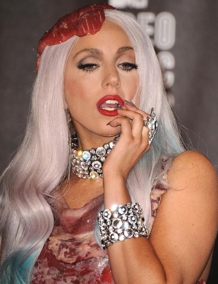 Lady Gaga wearing jewelry designed by Rodrigo Otazu at the 2010 MTV Video Music Awards. <br><br>(Photo: Steve Granitz/WireImage)