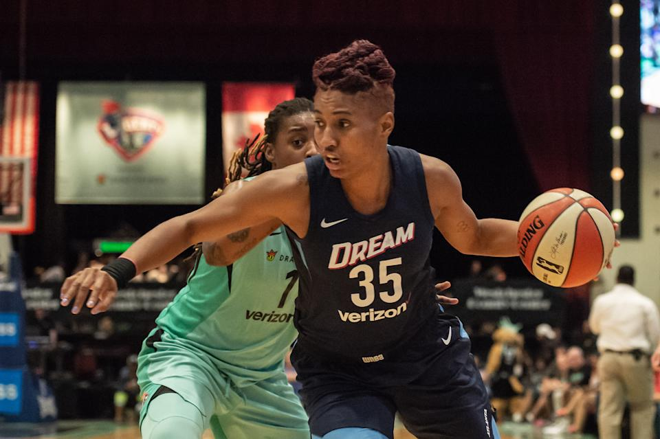 Angel McCoughtry called last week for the WNBA to honor Breonna Taylor on jerseys. (Photo by John Jones/Icon Sportswire via Getty Images)