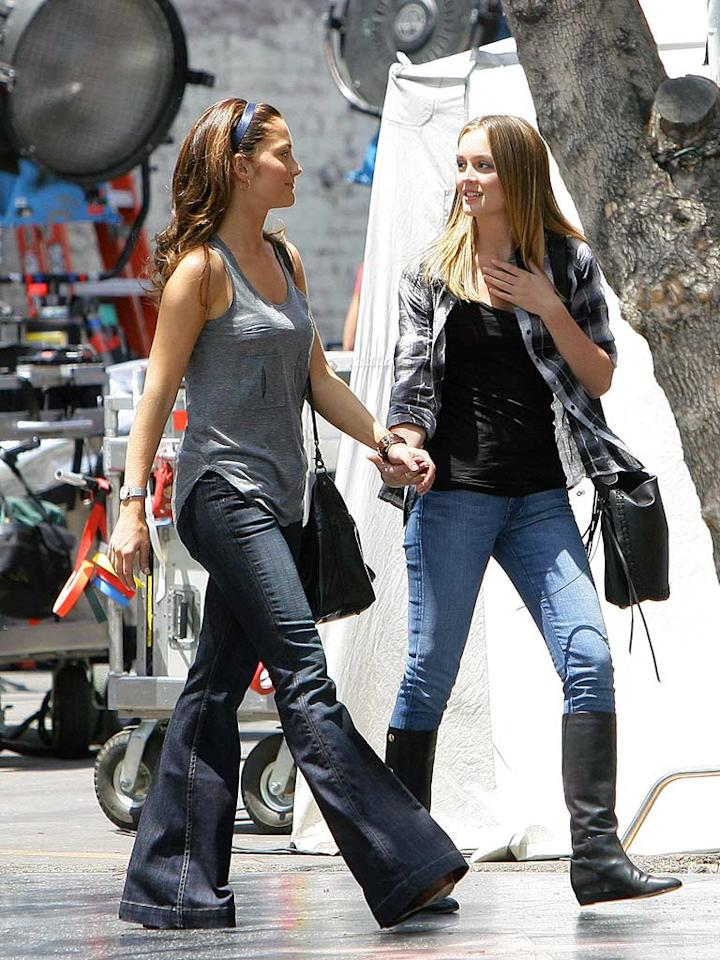 "Small screen queens Minka Kelly (""Friday Night Lights) and Leighton Meester (""Gossip Girl"") filmed scenes for their upcoming big screen thriller ""The Roommate"" on Friday. CelebrityJuicer/<a href=""http://www.splashnewsonline.com"" target=""new"">Splash News</a> - May 15, 2009"