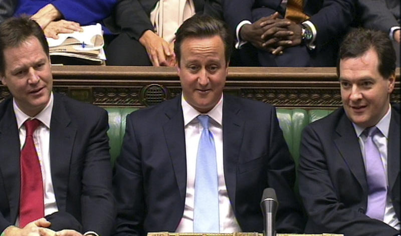In this video grab, from left to right, Deputy Prime Minister Nick Clegg, Prime Minister David Cameron and Chancellor of the Exchequer George Osborne during Prime Minister's Questions,  in the House of Commons, London,  Wednesday Jan. 9, 2013.  Top executives have warned British Prime Minister David Cameron that he could damage Britain's economy if he seeks to renegotiate the terms of its membership of the 27-country European Union. In a letter published in the Financial Times Wednesday, Virgin Group's Richard Branson, London Stock Exchange head Chris Gibson-Smith, WPP chief executive Martin Sorrell and seven other business leaders challenged Cameron's plan to renegotiate the U.K.'s membership terms of the 27-country EU and put the matter to a referendum. (AP Photo/PA) UNITED KINGDOM OUT  NO SALES  NO ARCHIVE