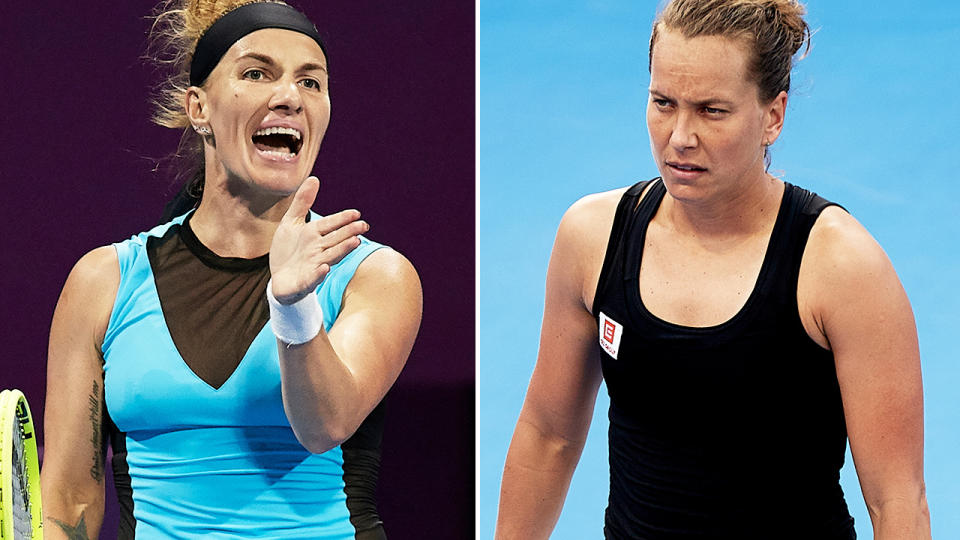 Svetlana Kuznetsova and Barbora Strycova, pictured here in action on the WTA tour.