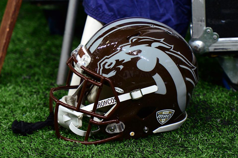 DETROIT, MI - DECEMBER 02: A Western Michigan Broncos helmet sits on the sidelines during the MAC Championship game between the Ohio Bobcats and the Western Michigan Broncos on December 2, 2016, at Ford Field in Detroit, Michigan. (Photo by Michael Allio/Icon Sportswire via Getty Images)