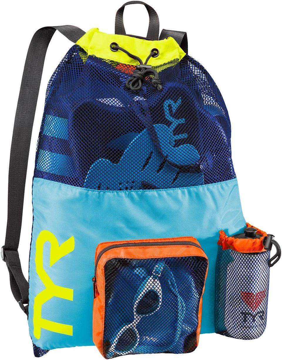 """<p>You can toss all your swim gear the <span>TYR Big Mesh Mummy Backpack</span> ($20) without worrying about a puddle forming at the bottom. While the overall breathability and drainage are both major bonuses, isolated pockets for your water bottle and cap and goggles make this carryall worth the buy. </p> <p>Click <a href=""""https://www.popsugar.com/smart-living/Health-Wellness-Tips-46521311"""" class=""""link rapid-noclick-resp"""" rel=""""nofollow noopener"""" target=""""_blank"""" data-ylk=""""slk:here for more health and wellness stories, tips, and news"""">here for more health and wellness stories, tips, and news</a>.</p>"""