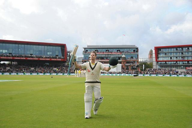 Smith hit the third double-ton of his career at Old Trafford, with both of the previous two having come against England (AP)