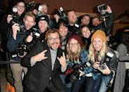 <p>The funnyman poses with the press at the 'The Polka King' premiere. (Photo: George Pimentel/Getty Images) </p>