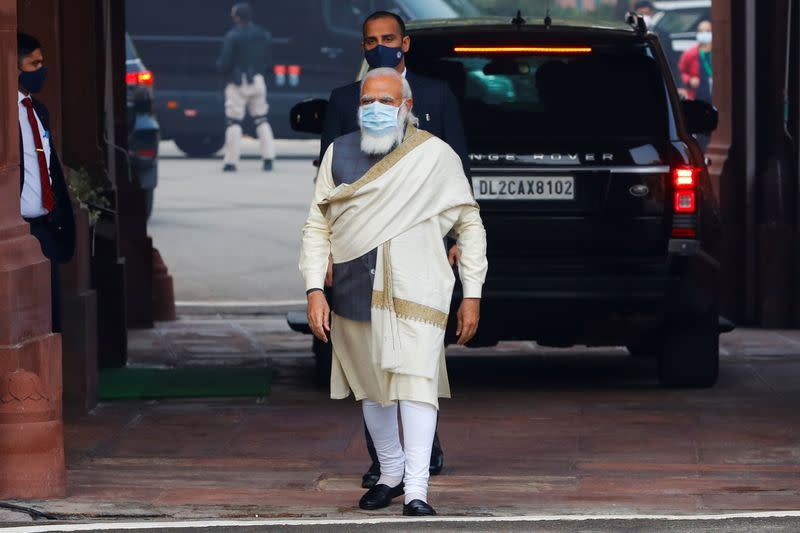 FILE PHOTO: India's Prime Minister Narendra Modi arrives at the parliament house to attend the first day of the budget session, in New Delhi