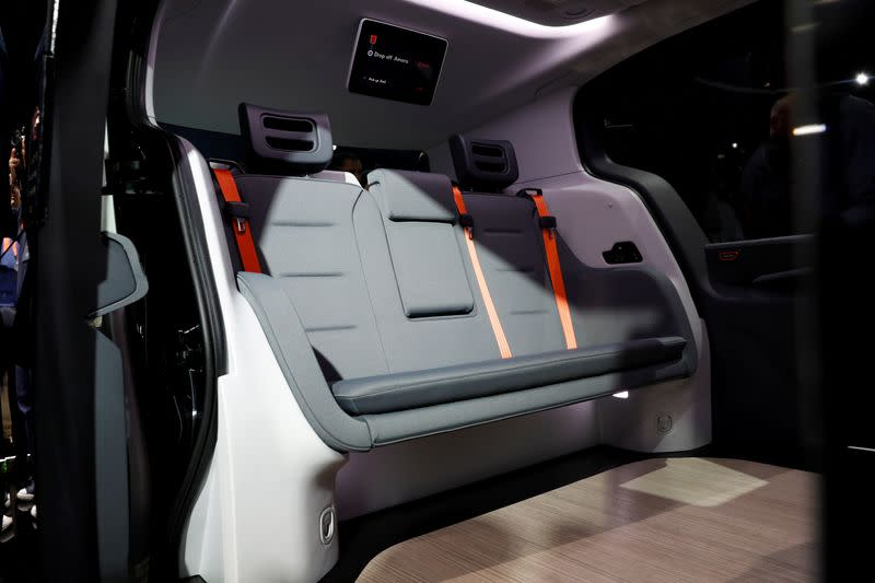 FILE PHOTO: The interior of a Cruise Origin autonomous vehicle is seen during its unveiling in San Francisco