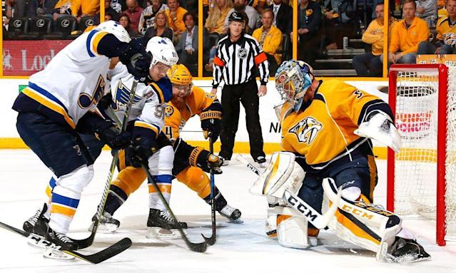 "NASHVILLE, TN – MAY 02: Goalie <a class=""link rapid-noclick-resp"" href=""/nhl/players/3764/"" data-ylk=""slk:Pekka Rinne"">Pekka Rinne</a> #35 of the <a class=""link rapid-noclick-resp"" href=""/nhl/teams/nas/"" data-ylk=""slk:Nashville Predators"">Nashville Predators</a> makes a save against <a class=""link rapid-noclick-resp"" href=""/nhl/players/4976/"" data-ylk=""slk:Vladimir Tarasenko"">Vladimir Tarasenko</a> #91 of the St. Louis Blues during the second period of Game Four of the Western Conference Second Round during the 2017 NHL Stanley Cup Playoffs at Bridgestone Arena on May 2, 2017 in Nashville, Tennessee. (Photo by Frederick Breedon/Getty Images)"