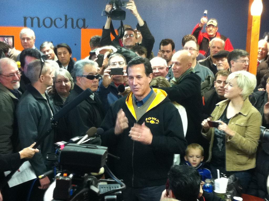 Santorum, in Polk City, says Hawkeye jacket is for warmth only. He's not choosing sides in Iowa vs. Iowa State rivalry (Yahoo Politics)