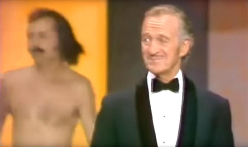 Awkward: Niven tried to diffuse the situation with a quip ()