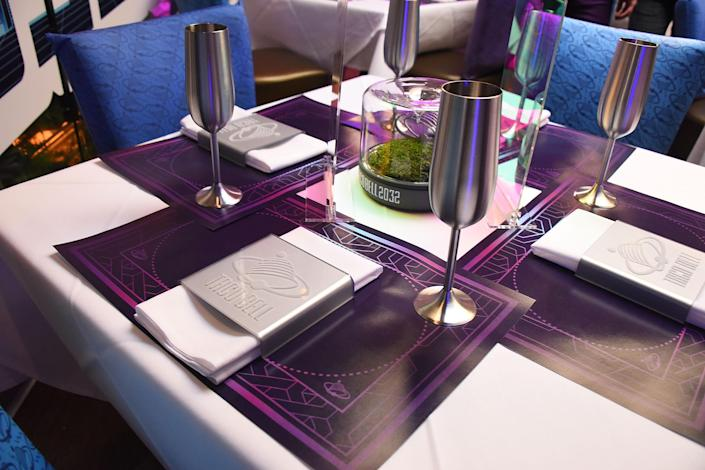 A table celebrating the 25th anniversary of <em>Demolition Man</em> is set for a movie-themed four-course meal. (Photo: Araya Diaz/Getty Images for Taco Bell)