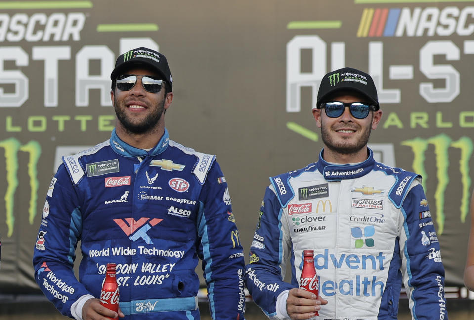 Bubba Wallace (L) and Kyle Larson ahead of the NASCAR All-Star Race in 2019. (Associated Press)