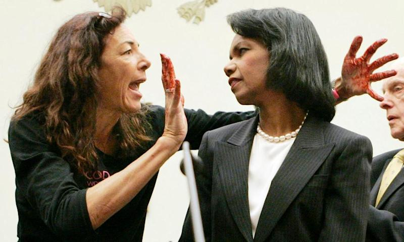 Desiree Fairooz confronts Condoleeza Rice in 2007. Fairooz has been convicted after laughing during a confirmation hearing for Jeff Sessions as attorney general.