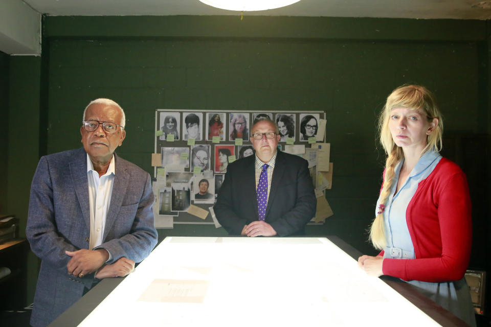 From BlinkfilmsFRED AND ROSE WEST : REOPENEDPart 1 Wednesday 15th September 2021Part 2 Thursday 16th September 2021On ITV Pictured: (l-r) Sir Trevor McDonald, Former Met Police Detective Chief Inspector Colin Sutton and forensic psychologist Dr Donna Youngs,Two-part programme over consecutive nights presented by Sir Trevor McDonald which follows a team of investigators as they explore new leads suggesting there may be more Wests' victims than their 12 known murders. Following new information from documents and witness testimonies, the investigators are led to locations around the country as they search for answers. Locations include fields outside Gloucester, a cafŽ which Fred West visited, and a place known as 'the Farm', where Fred claimed to have buried 20 further bodies.After new and significant evidence is uncovered, Gloucestershire Police initiate a new operation to investigate the leads. Their investigation is ongoing.(C) BlinkfilmsFor further information please contact Peter GrayMob 07831460662 /  peter.gray@itv.comThis photograph is (C) Blinkfilms and can only be reproduced for editorial purposes directly in connection with the programme FRED AND ROSE WEST : REOPENED or ITV. Once made available by the ITV Picture Desk, this photograph can be reproduced once only up until the Transmission date and no reproduction fee will be charged. Any subsequent usage may incur a fee. This photograph must not be syndicated to any other publication or website, or permanently archived, without the express written permission of ITV Picture Desk. Full Terms and conditions are available on the website www.itvpictures.com