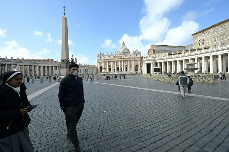 A largely deserted St. Peter's square on Friday after the Vatican announced its first coronavirus case